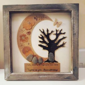 Family tree, stone art, tea leaf tree,
