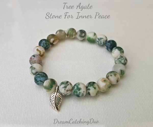 Tree agate, inner peace, grounded, natural, eco-friendly, handmade, made with love, leafy love, dreamcatchingduo lava stone bracelet
